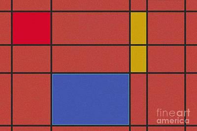 Minimalist Digital Art - Minimalist Mondrian by Celestial Images