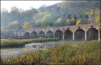 Misty Morning In Coalbrookdale Shropshire Print by Liz  Callan