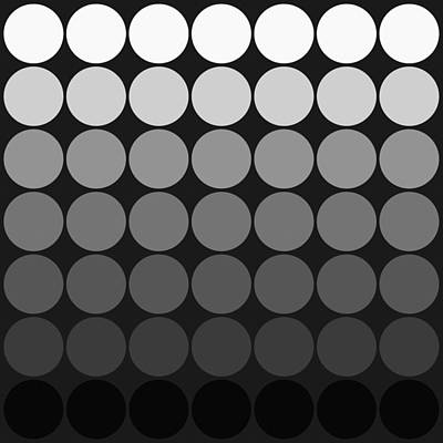 Mod Pop Gradient Circles Black And White Print by Denise Beverly