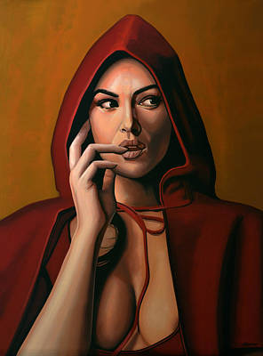 Tears Painting - Monica Bellucci by Paul Meijering