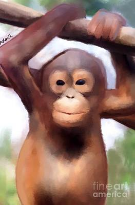Orangutan Drawing - Monkey Business by Karen Larter