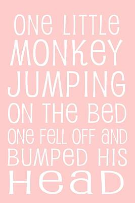 Monkey Jumping On The Bed Print by Jaime Friedman