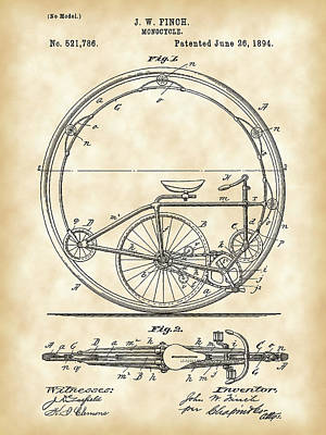 Triathlon Digital Art - Monocycle Patent 1894 - Vintage by Stephen Younts