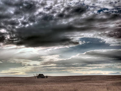 Old Cabins Photograph - Montana Grasslands by Leland D Howard
