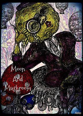 Moon And Mushroom Print by Akiko Kobayashi