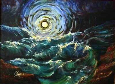 Moon And Waves Print by Laila Awad Jamaleldin