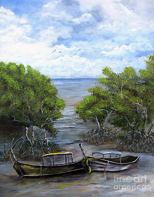 Tree Roots Painting - Moored Among The Mangroves by Sharon Burger