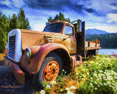 Old Trucks Painting - Moose Pass Limo by David Wagner