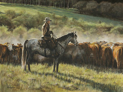 Cattle Drive Painting - Morning In The Highwoods by Kim Lockman