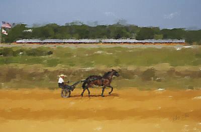 Racetrack Digital Art - Morning Workout by John Ellis
