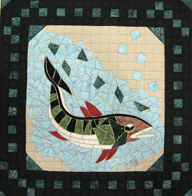 Wildlife Tapestries - Textiles Tapestry - Textile - Mosaic Fish by Lynda K Boardman