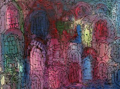 Mosaic Town Print by Oscar Penalber