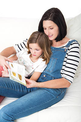 Bonding Photograph - Mother Reading Book With Daughter by Lea Paterson
