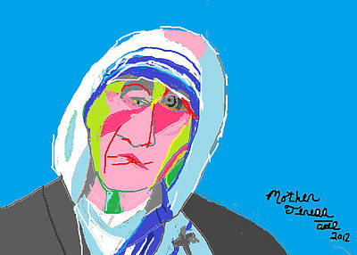 Religious Artist Drawing - Mother Teresa by Anita Dale Livaditis