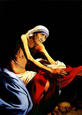 Mother Teresa Seated Nude Print by Karine Percheron-Daniels