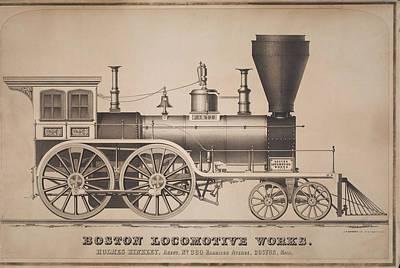 Boston Painting - Boston Locomotive Works by MotionAge Designs