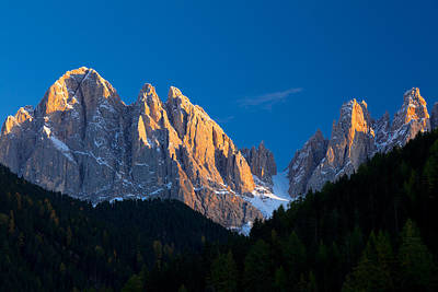 Dolomite Photograph - Mountains At Sunset, Dolomites, Val Di by Panoramic Images