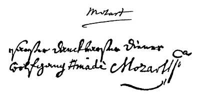 Autograph Painting - Mozart Autograph by Granger