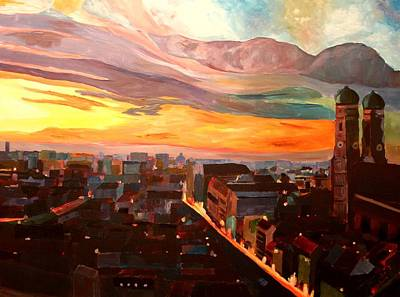 Munich Sunset With Church Of Our Lady Original by M Bleichner