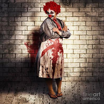 Murderous Monster Clown Standing In Full Length Print by Jorgo Photography - Wall Art Gallery
