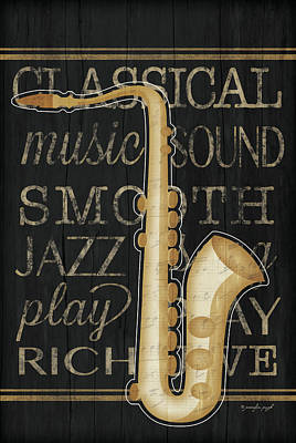 Music Saxophone Print by Jennifer Pugh