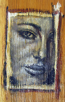 Mysterious Girl Face Portrait - Painting On The Wood Print by Nenad Cerovic