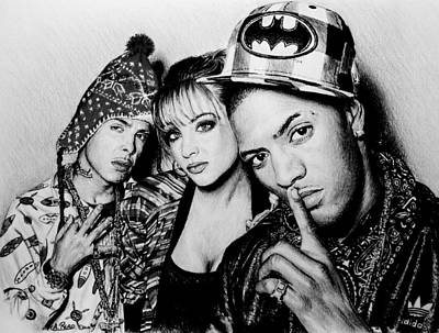 Hip Hop Drawing - N Dubz by Andrew Read