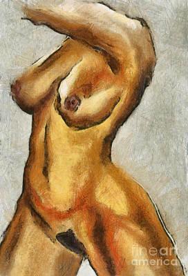 Naked Woman Body - Torso Print by Michal Boubin