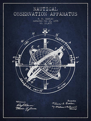 Nautical Observation Apparatus Patent From 1895 - Green Print by Aged Pixel