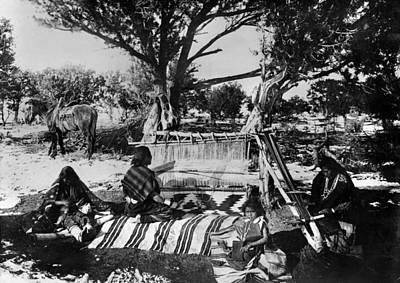 Handloom Photograph - Navajo Weavers, 1893 by Granger