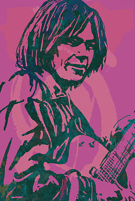 Neil Young Drawing - Neil Young Pop Artsketch Portrait Poster by Kim Wang