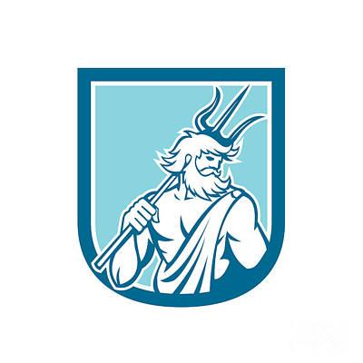 Poseidon Digital Art - Neptune Poseidon Trident Shield Retro by Aloysius Patrimonio