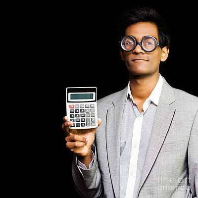 Accountant Photograph - Nerdy Asian Accountant Or Maths Genius by Jorgo Photography - Wall Art Gallery