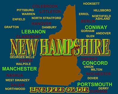 Concord Digital Art - New Hampshire State Pride Map Silhouette  by Keith Webber Jr