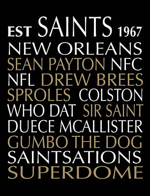 New Orleans Saints Print by Jaime Friedman