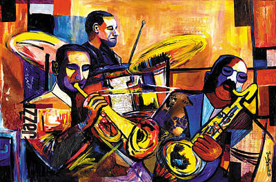 Lino Mixed Media - New Orleans Trio by Everett Spruill