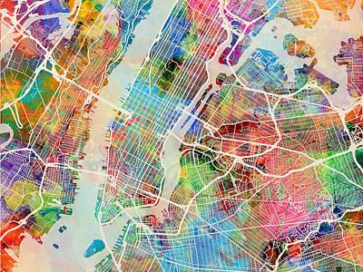 Broadway Digital Art - New York City Street Map by Michael Tompsett
