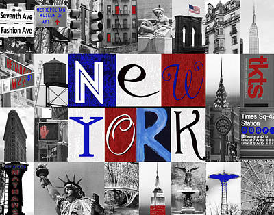 New York Collage II Print by Marilu Windvand