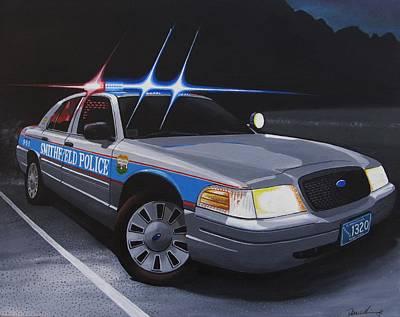 Police Cruiser Painting - Night Patrol by Robert VanNieuwenhuyze