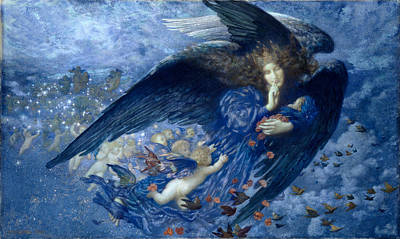 Blue Angels Painting - Night With Her Train Of Stars by Edward Robert Hughes