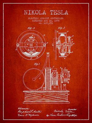 Circuit Digital Art - Nikola Tesla Electric Circuit Controller Patent Drawing From 189 by Aged Pixel
