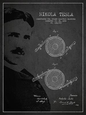 Nikola Tesla Patent From 1886 Print by Aged Pixel