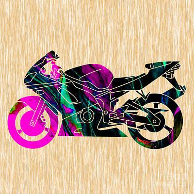 Motorcycle Mixed Media - Ninja Bike Art by Marvin Blaine
