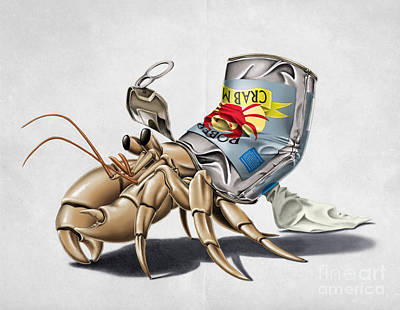 Crab Mixed Media - No Place Like Home Wordless by Rob Snow