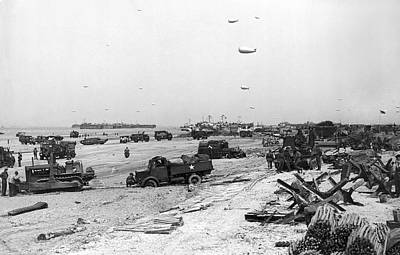 Normandy Beach Supplies Print by Underwood Archives