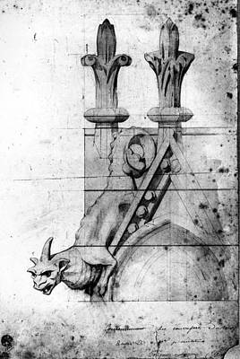 Restoration Drawing - Notre Dame Gargoyle by Granger