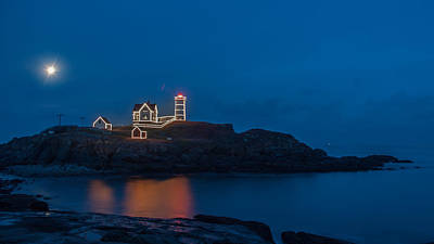 Nubble At Night Print by Guy Whiteley