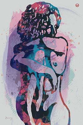 Saxophone Mixed Media - Nude - Pop Art Etching Poster 1 by Kim Wang