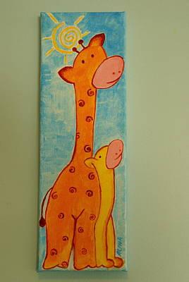 Mother And Baby Giraffe Painting - Nursery Art by Alina Azeem