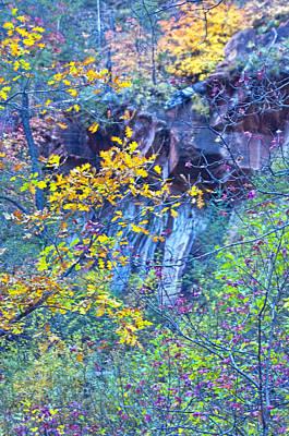 West Fork Digital Art - Oak Leaves By The Canyon Wall by Brian Lambert
